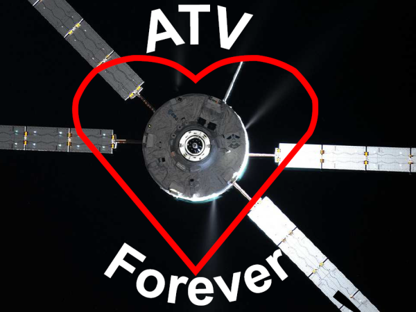 ATV5 re-entry coincided with Valentines weekend. A lovely way to say goodbye don't you think? (ESA)